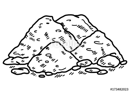 500x357 Soil Cartoon Vector And Illustration, Black And White, Hand