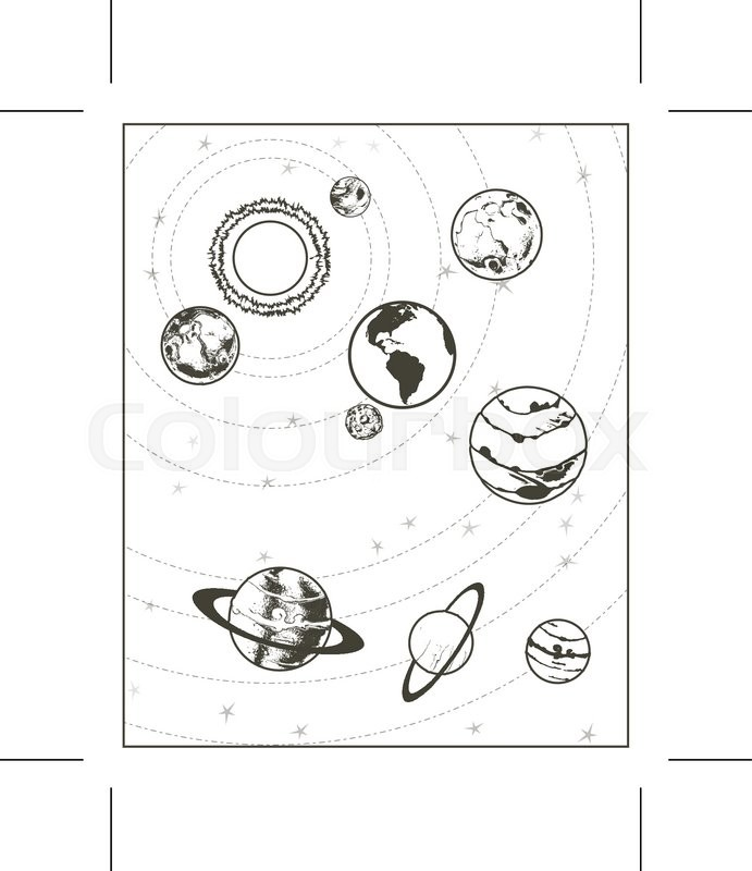 691x800 Black Drawing, Solar System Vector Stock Vector Colourbox