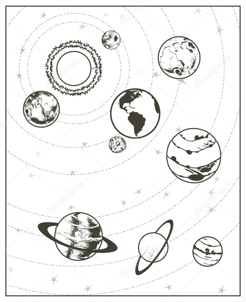 836x1024 Black Drawing Of Solar System Stock Vector Natis76