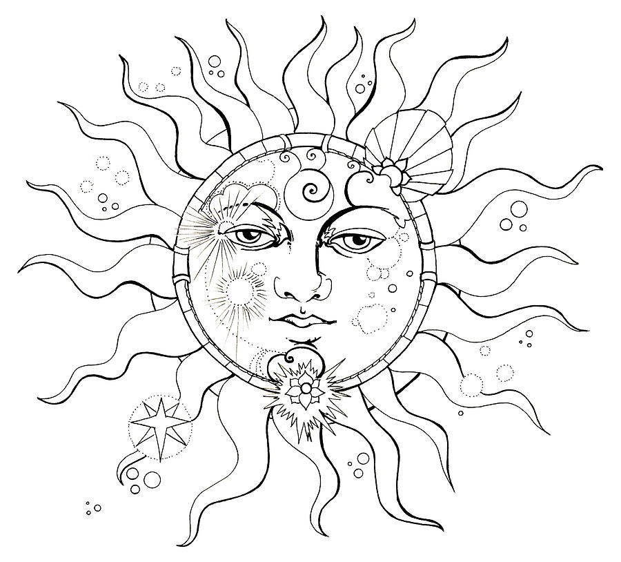 900x814 Solar Eclipse Moon Face Colouring Page Drawing By Katherine Nutt