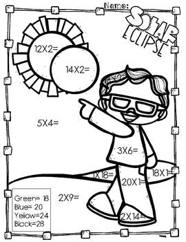 270x350 Solar Eclipse Multiplication Coloring Pages By Aj Bergs Tpt