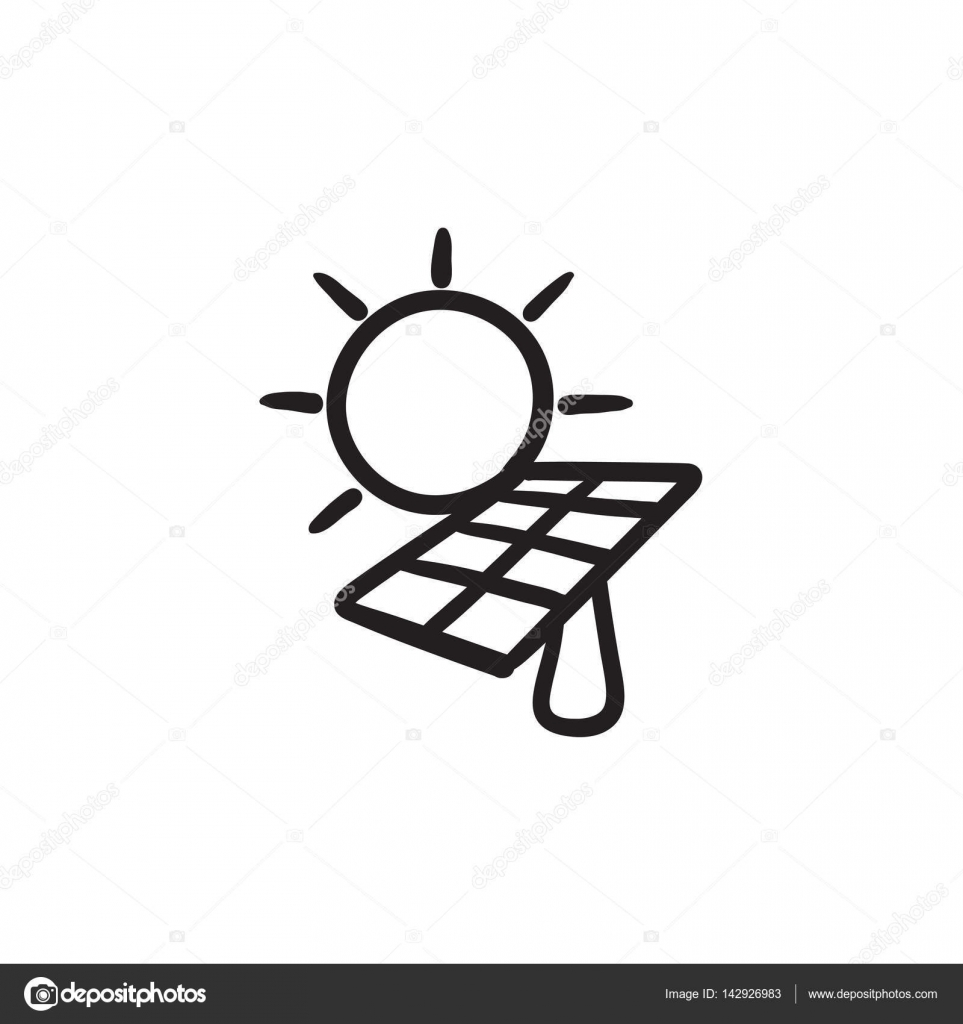 963x1024 Solar Energy Sketch Icon. Stock Vector Rastudio