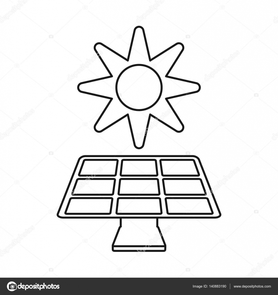 963x1024 Solar Panel Energy Environment Symbol Thin Line Stock Vector