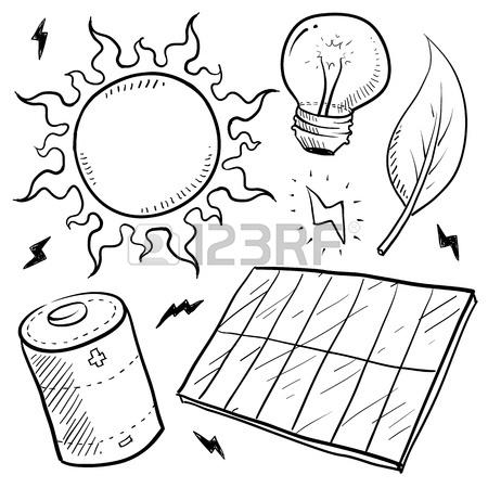 450x450 Doodle Style Renewable Solar Energy Equipment Sketch In Vector