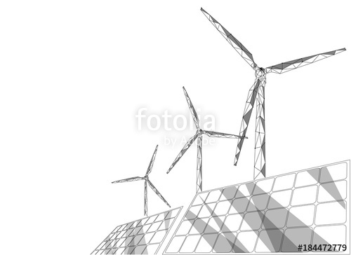 500x364 Solar Panels Windmills Turbine Generating Electricity. Green
