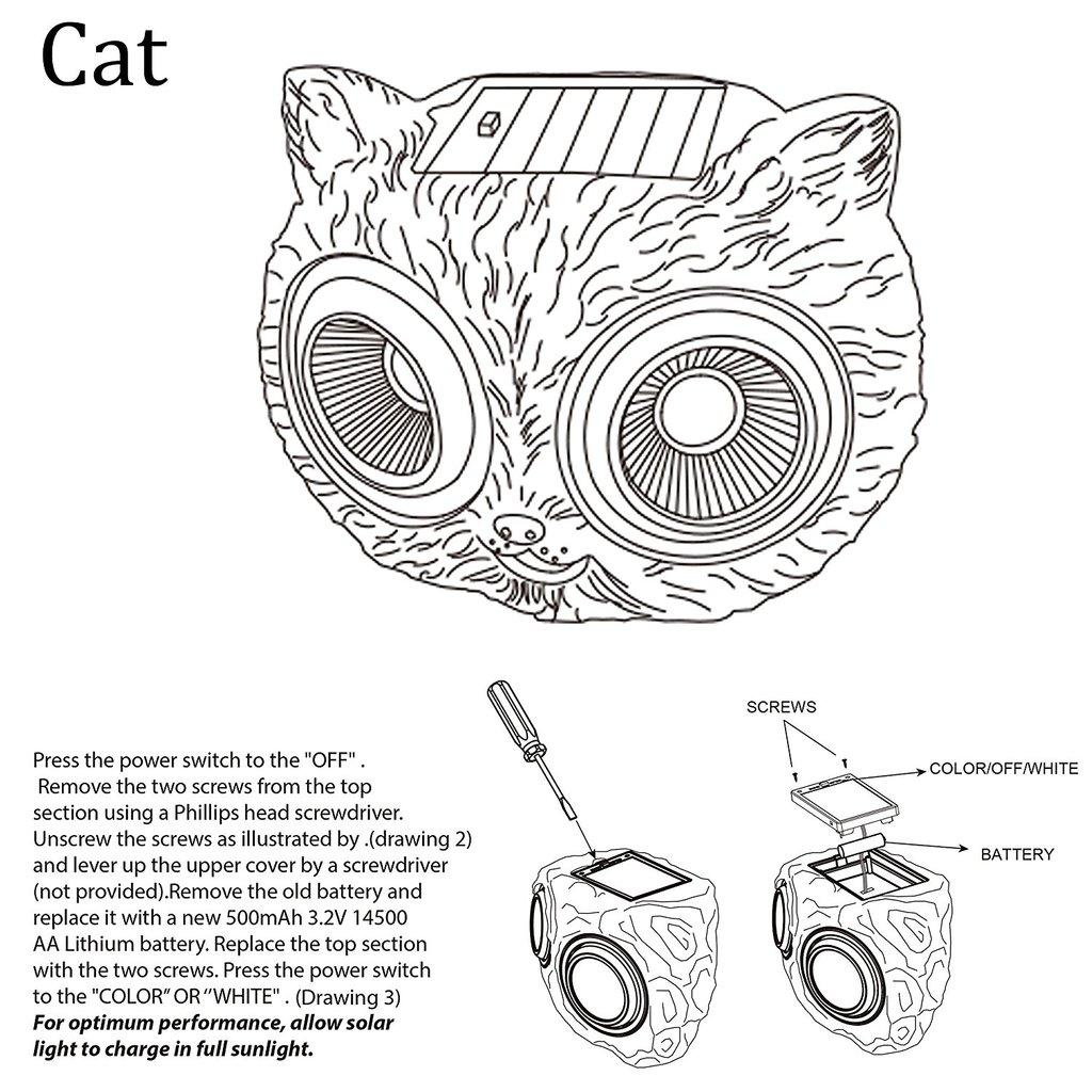 1024x1024 10 Solar Powered Garden Solar Cat Decor Lights Outdoor Color