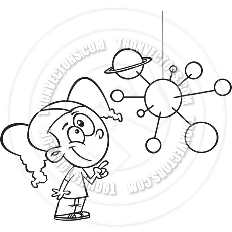 460x460 Cartoon Girl Leaning Solar System (Black Amp White Line Art) By Ron