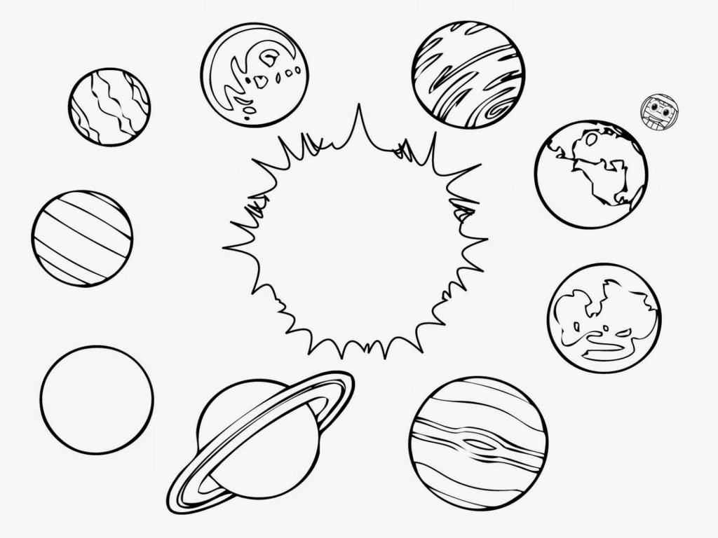 1024x768 Drawing Of Solar System Planets Set. Hand Drawn Cartoon Collection
