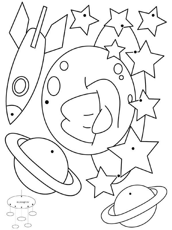Solar System Line Drawing