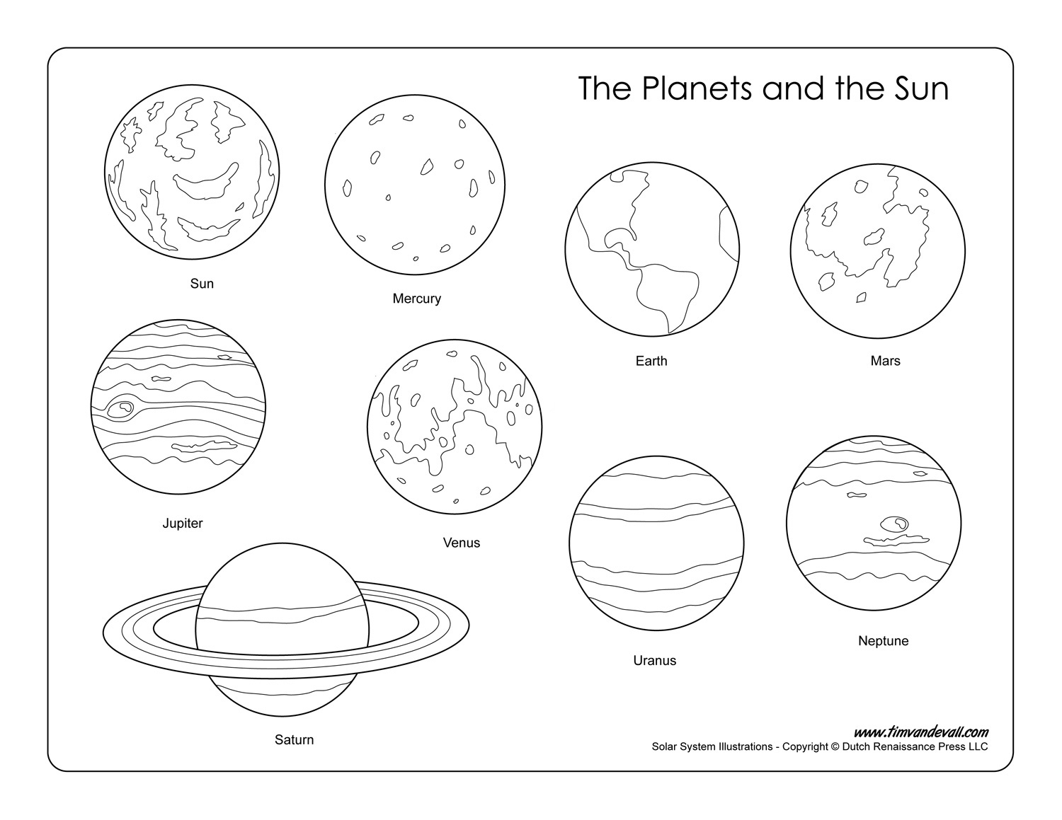 solar system line drawing at getdrawings com