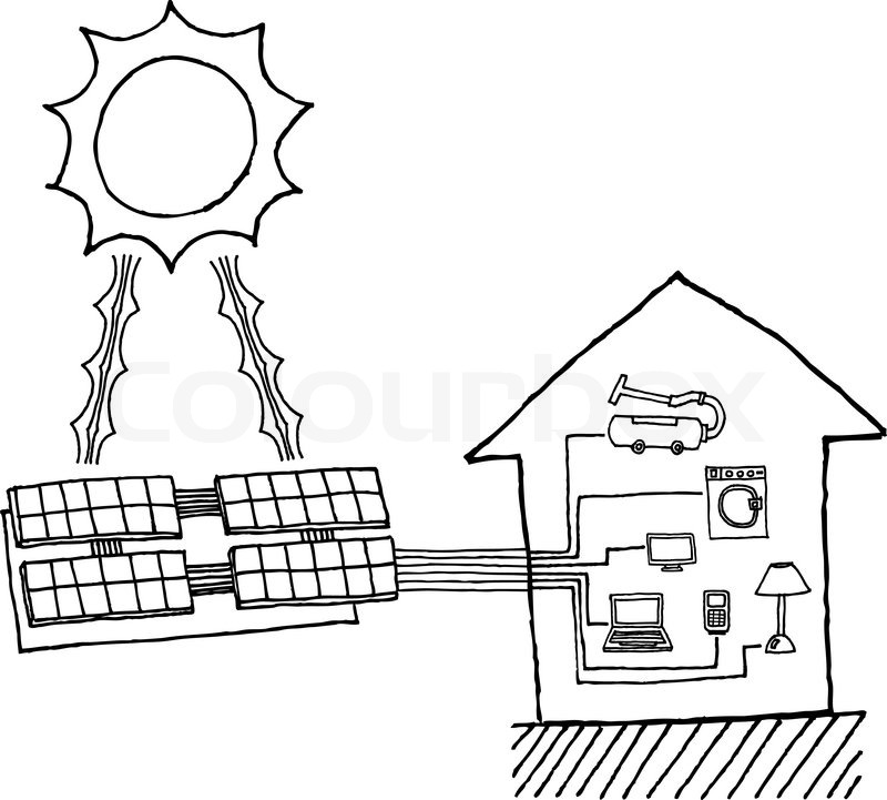 Solar system line drawing at getdrawings free for personal use 800x721 solar power graphic cheap energy working diagram stock vector ccuart Images