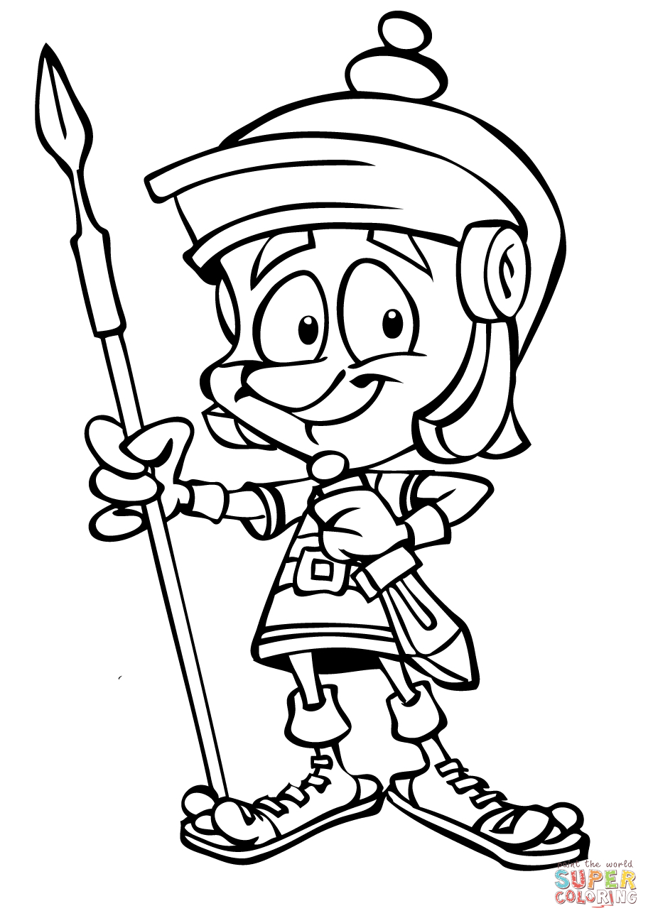 919x1300 Cartoon Soldier Drawing Cartoon Roman Soldier With Spear Coloring