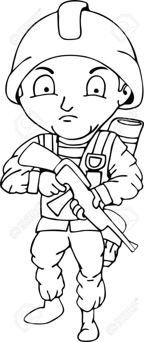 547x1300 Soldier Doodle, Children's Crayon Drawing. Royalty Free Cliparts