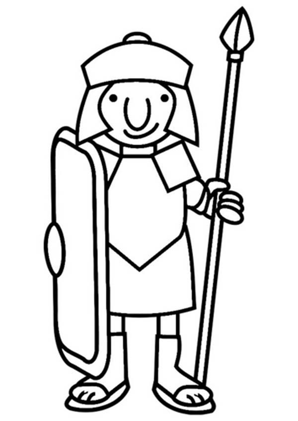 600x847 A Cartoon Drawing Of Roman Soldier From Ancient Rome Coloring Page