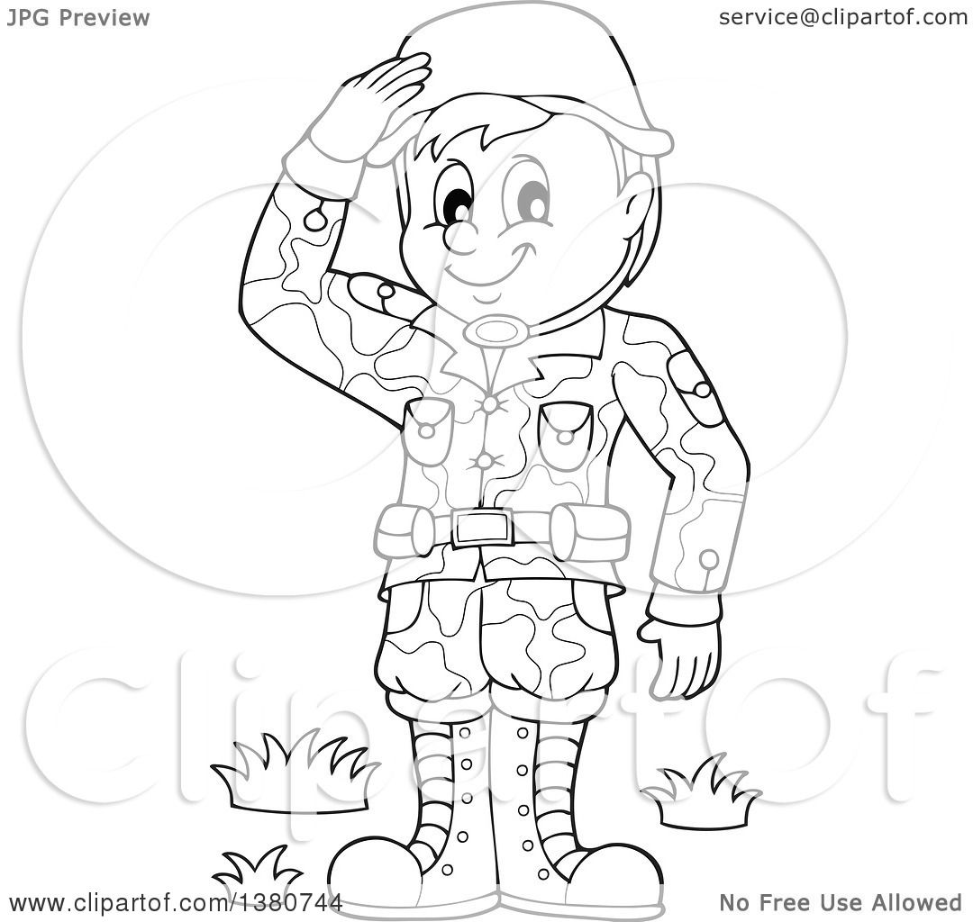 1080x1024 Clipart Of A Black And White Happy Male Soldier Saluting