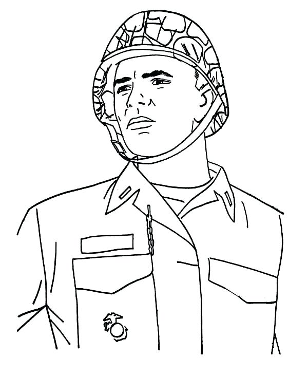600x734 A Young Soldier In Combat Helmet Celebrating Veterans Day Coloring