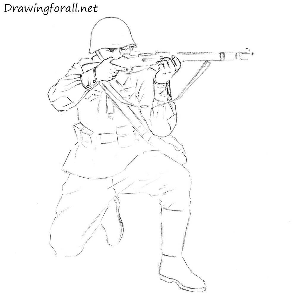 1000x998 Soldier Drawing