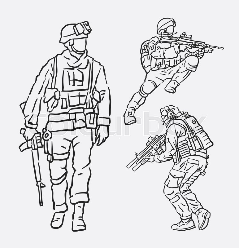 772x800 Soldier Army Action Hand Drawing. Good Use For Symbol, Logo, Web