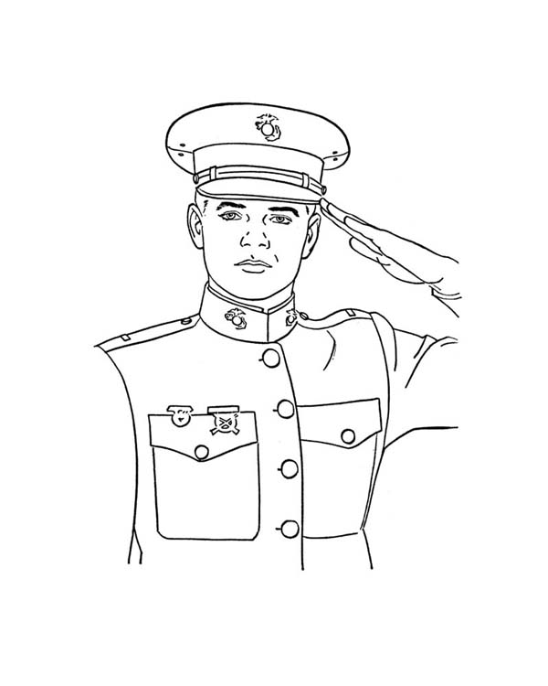 600x750 An Officer Giving Salute Celebrating Veterans Day Coloring Page