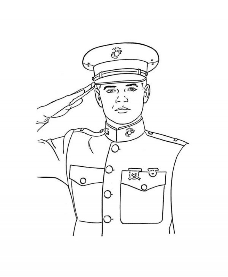Soldier saluting drawing at free for for Navy sailor coloring pages