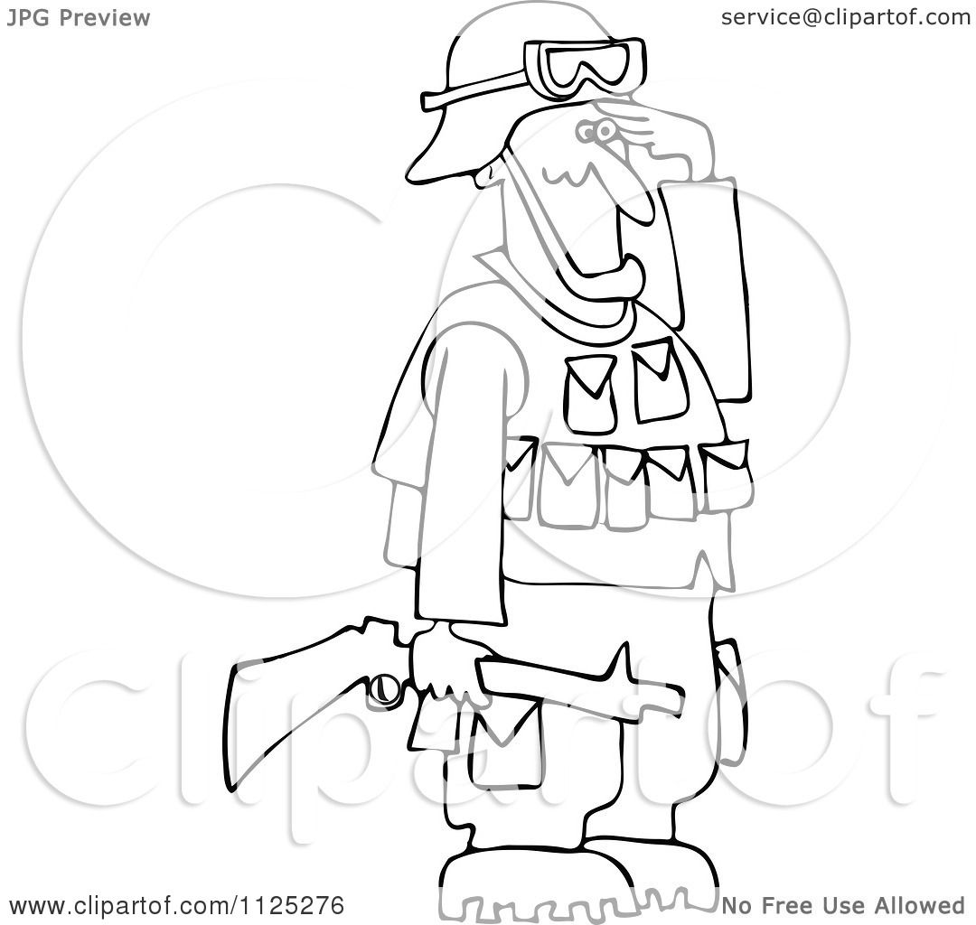 1080x1024 Cartoon Of An Outlined Army Soldier Holding A Gun And Saluting