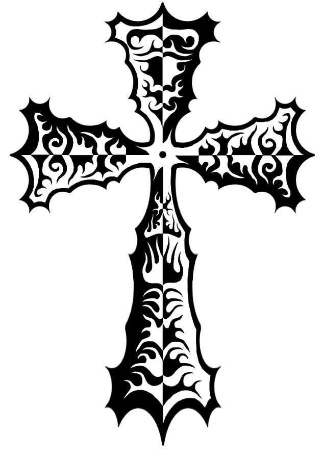 633x900 Tribal Cross Tattoo Art Design Drawing By Frank Glover