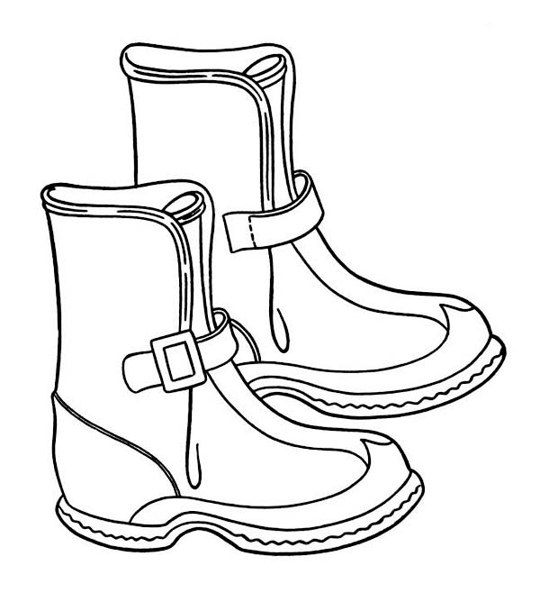 600x678 Solid Winter Season Boots To Wear Coloring Page