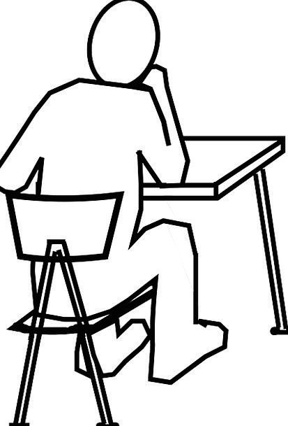 413x609 How To Draw Person Sitting At Desk Desk Design Ideas