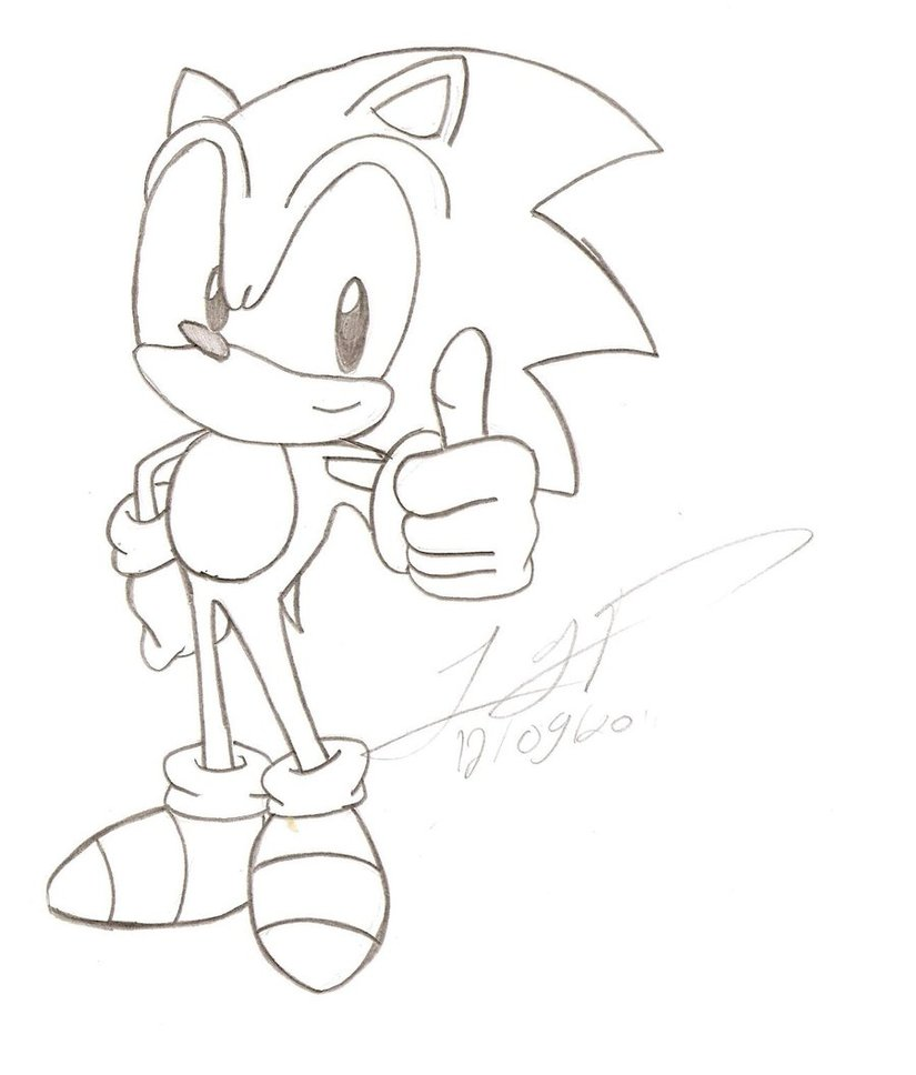 825x968 Sonic The Hedgehog Drawing By Firefenixss