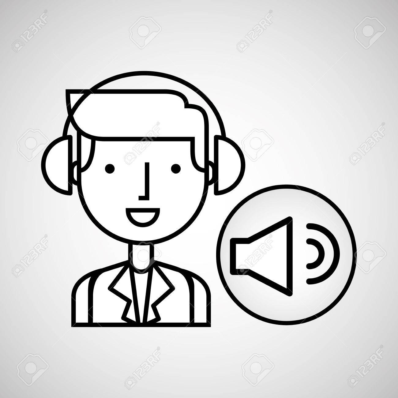 1300x1300 Man Hand Drawing Listening Music Sound Vector Illustration Eps