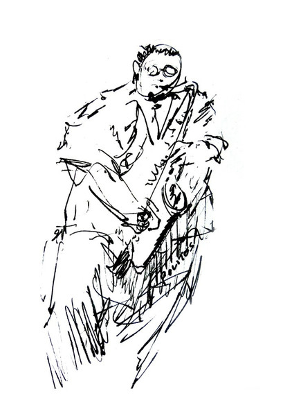 409x600 Jazz Musician Music Drawing Sketch Pen And Ink Decor Wall Art By