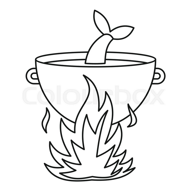 800x800 Fish Soup In The Cauldron Icon. Outline Illustration Of Fish Soup