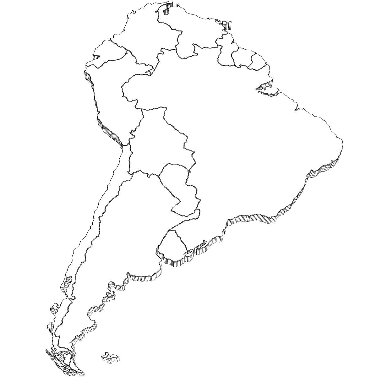 1200x1200 3d Model South America Map Cgtrader