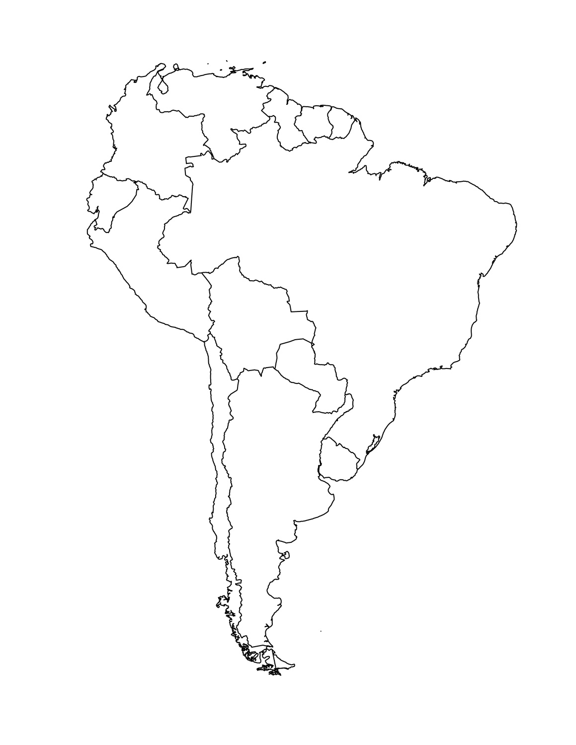 1159x1500 Map South America Blank Printable
