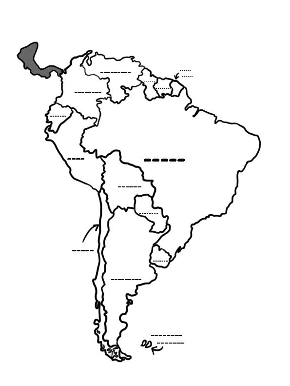 595x791 South America Map Black And White Culture Studies