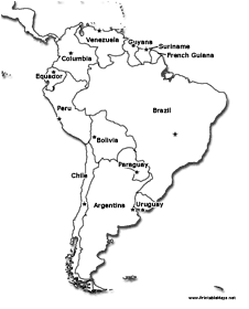 226x280 South America Printable Maps