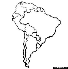 236x240 A Printable Map Of South America Labeled With The Names Of Each