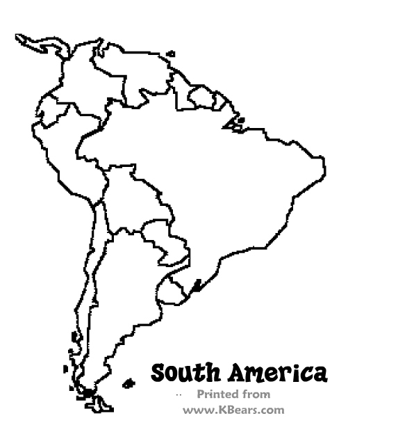 573x644 South America Coloring Map