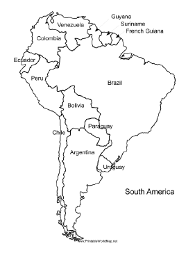 281x364 A Printable Map Of South America Labeled With The Names Of Each