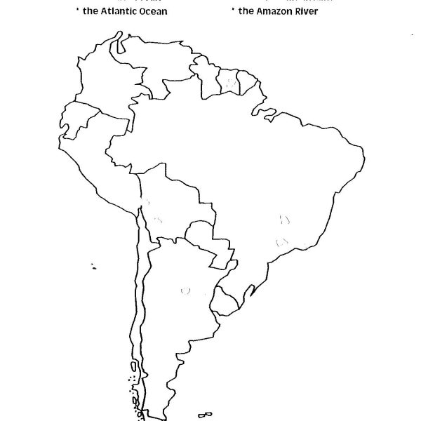 600x600 Map Of South America Unlabeled Map Of Usa