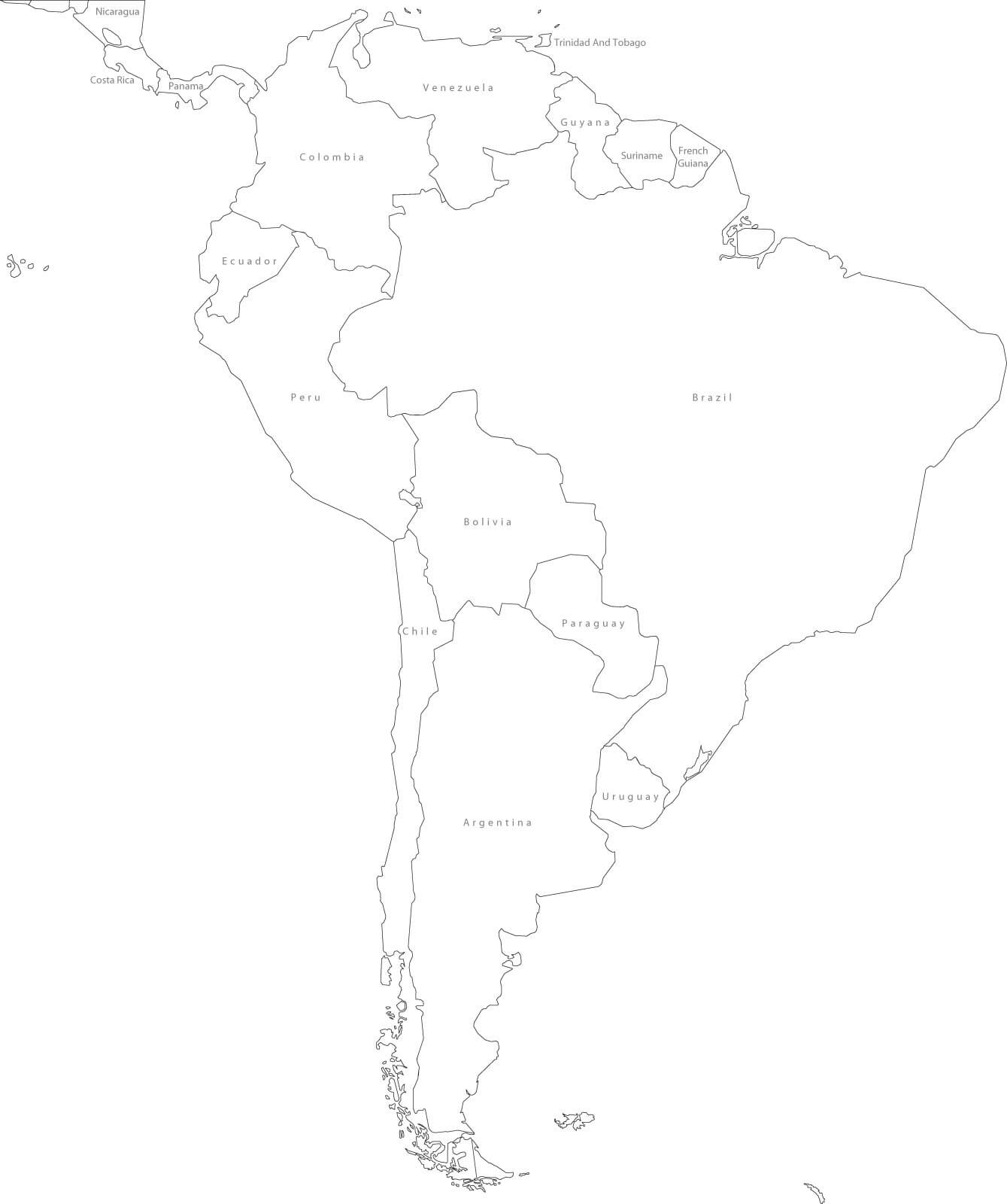 1339x1600 Map Of South America