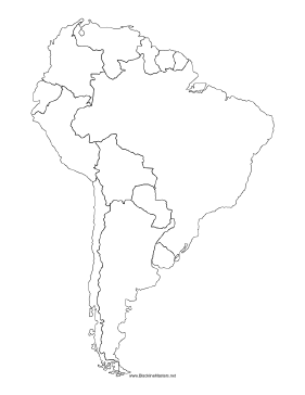281x364 Blackline Map Of South America