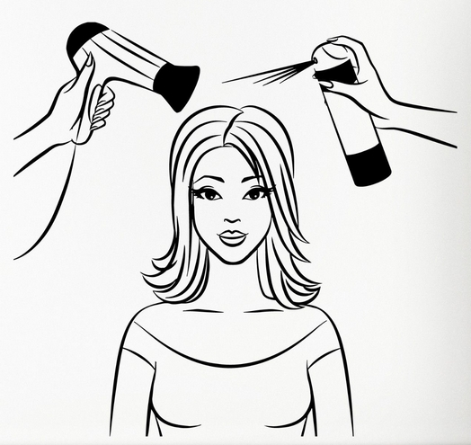 524x495 Hair Salon Vinyl Decal Sexy Girl Hair Beauty Spa Salon Barbershop