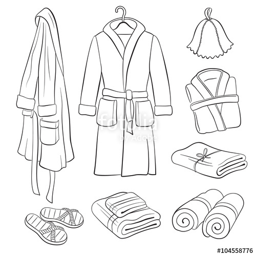 500x500 Sauna Accessories Sketch. Hand Drawn Spa Bathrobes And Towels