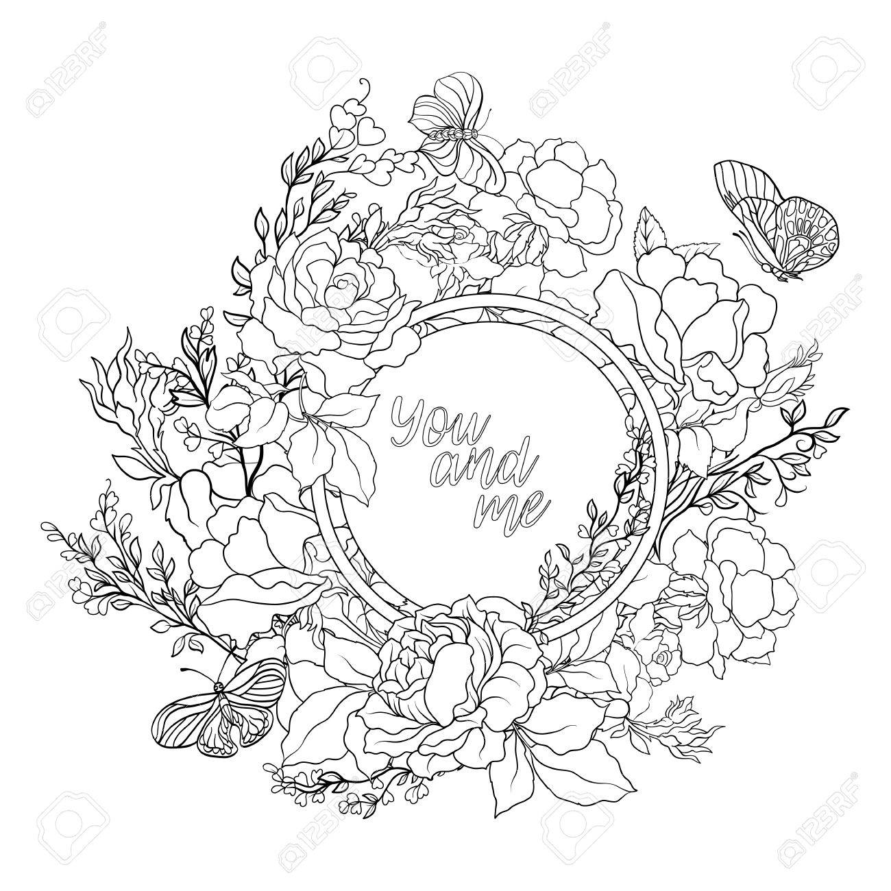 1300x1300 Rose Flower Background With Space For Text. Outline Drawing