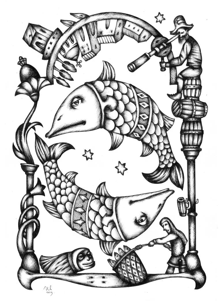 770x1041 Saatchi Art Deep Space Pisces Drawing By Eugene Ivanov