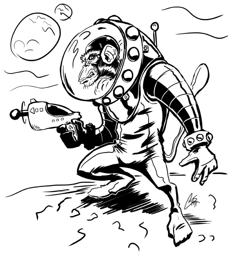 739x853 Space Monkey Is In Space By Chrisjamesscott