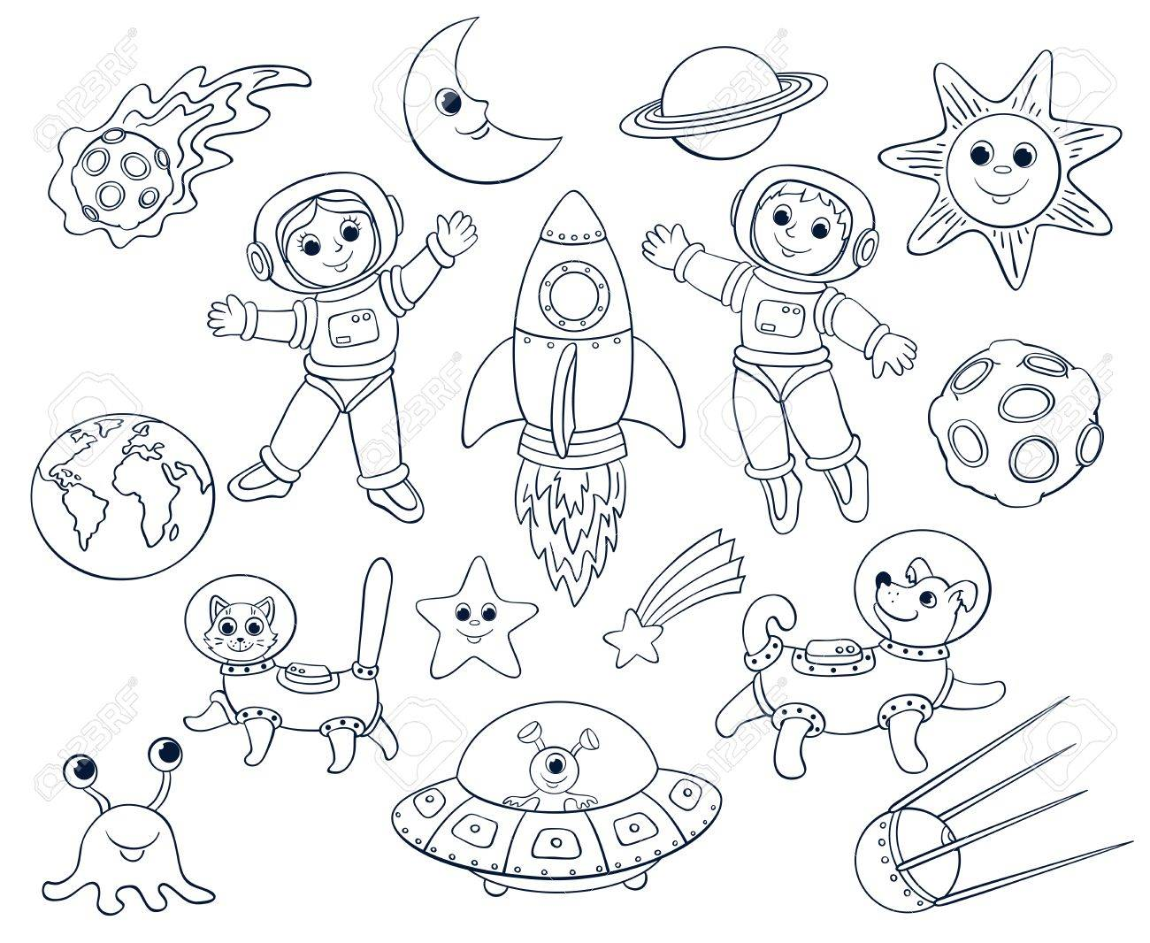 1300x1066 Children In The Space. Cartoon Vector Lineart Set. Isolated