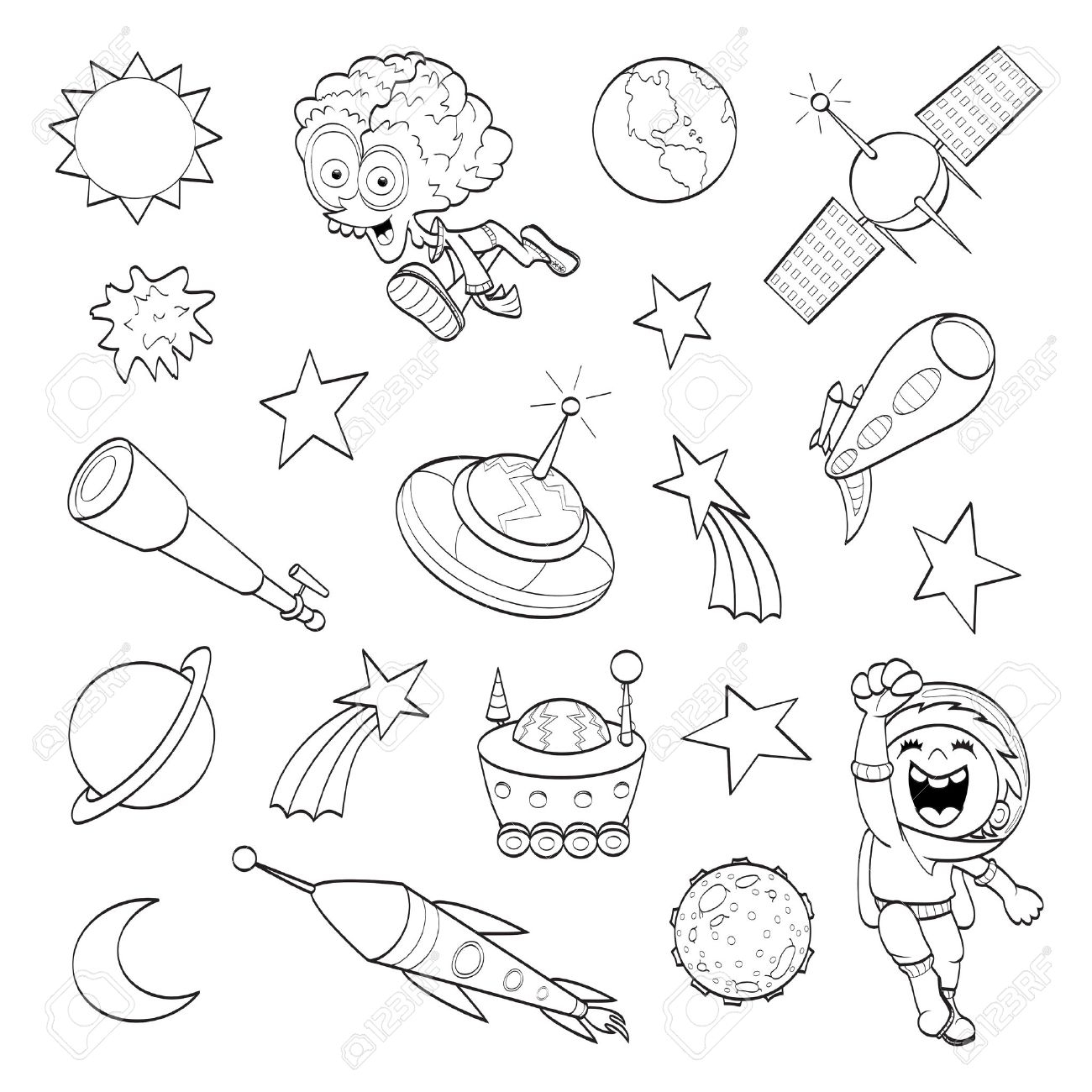 1300x1300 Space Cartoon Drawing Cartoon Outer Space Set Coloring Book