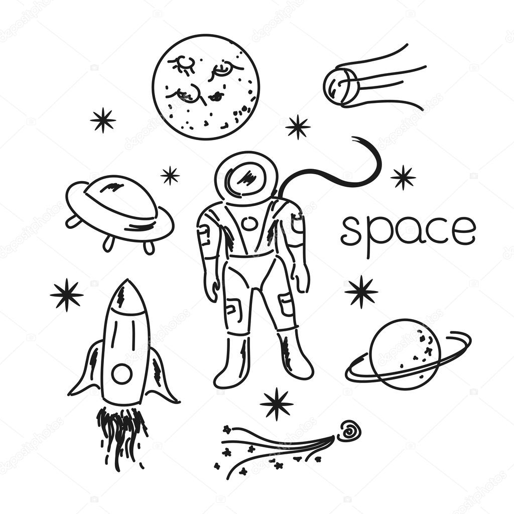 1024x1024 Space Objects Line Drawing Stock Vector Meowudesign
